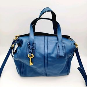 Fossil blue leather bag